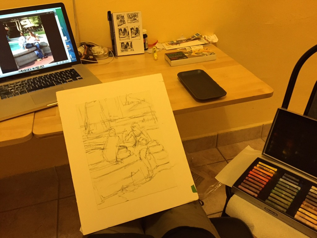Budapest pastel: My set up - computer with the image, my board and paper, thumbnails in front of me, and pastels on the seat beside me.