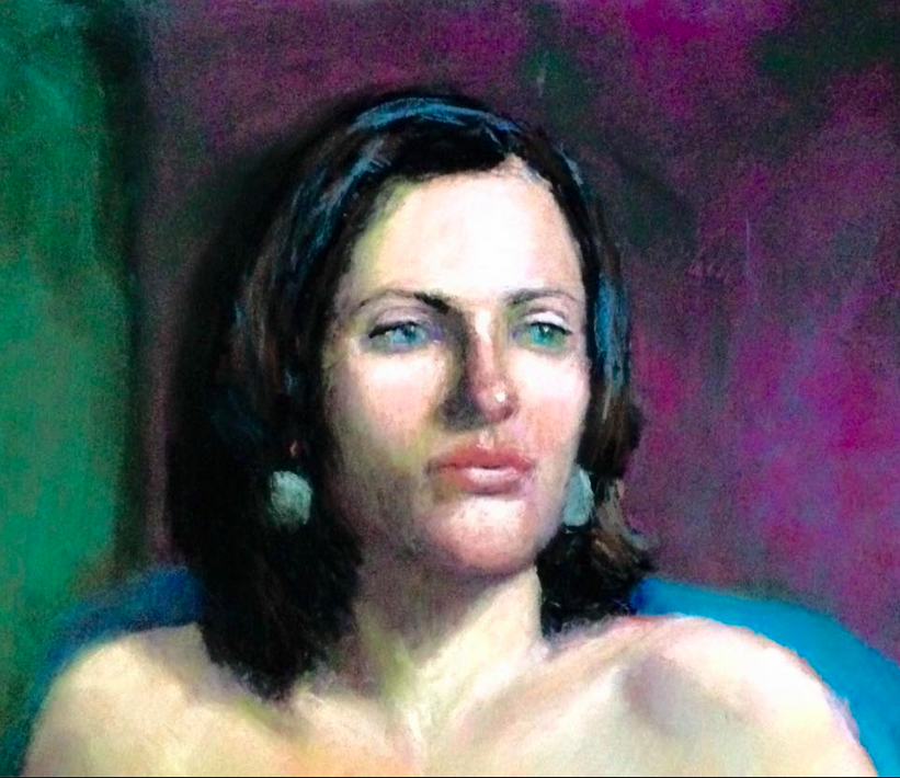 """August's Awesome Pastels: Jana Volkmer, """"Workshop Muse,"""" pastel, 11 x 14 in"""
