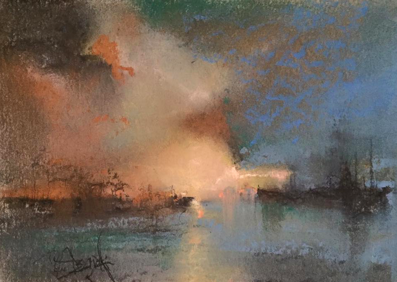 """August's Awesome Pastels: Rob Gregoretti, """"Untitled,"""" pastel on multimedia board, 5 x 7 in"""