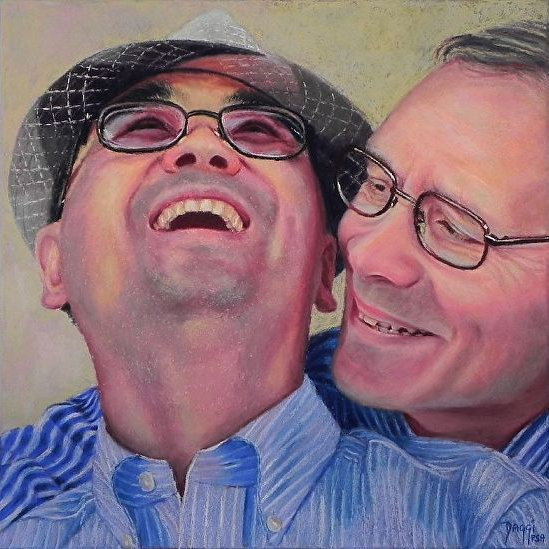 """Daggi Wallace, """"BJ and Jerry,"""" pastel, 14 x 14 in"""