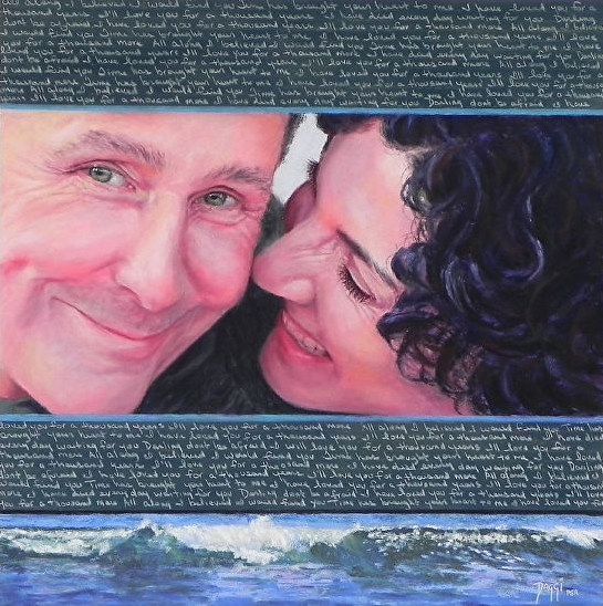 """Daggi Wallace, """"Howard and Rachel, For A Thousand Years More,"""" pastel, 16 x 16 in"""