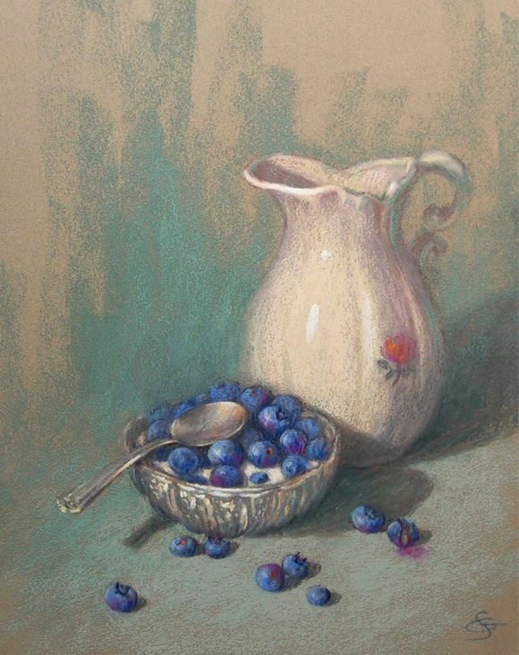 """August's Awesome Pastels: Suzanne Godbout, """"Blueberry Season,"""" pastel on Sennelier La Carte paper, 16 x 12 in"""