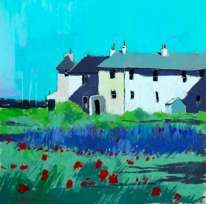 """August's Awesome Pastels: Tim Fisher, """"Coastguard Cottages, Lydd,"""" Sennelier pastels on Fisher400 artpaper, 12 x 12 in"""