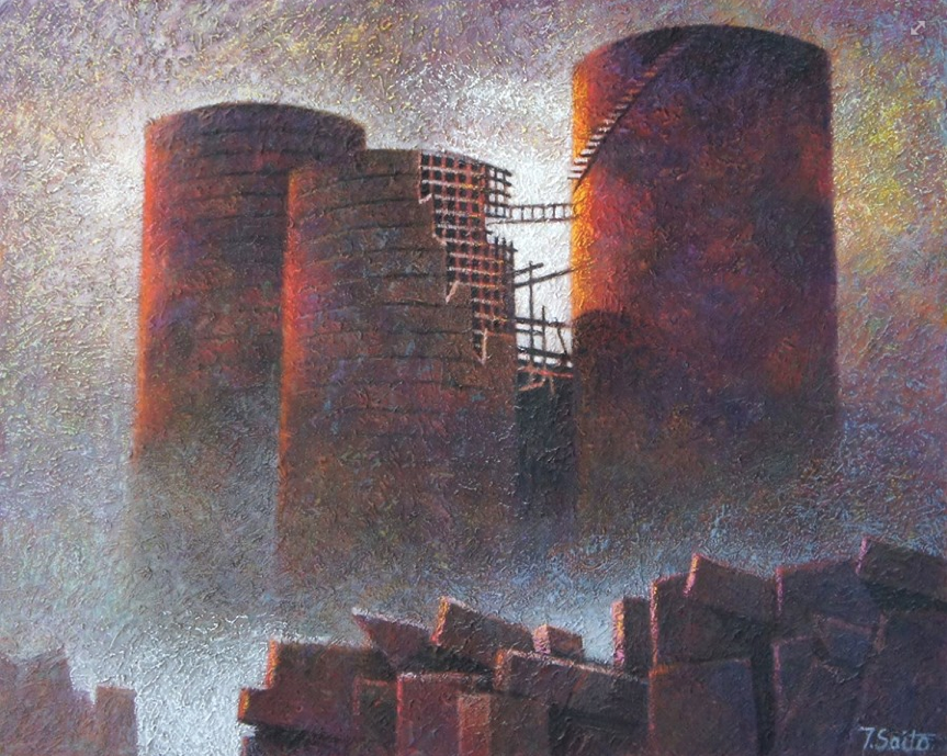 """August's Awesome pastels: Tomonaga Saito, """"Ruined Power Plant,"""" pastel on textured Canson paper (modelling paste) , 31 1/2 x 39 3/8 in (80 x 100 cm)"""