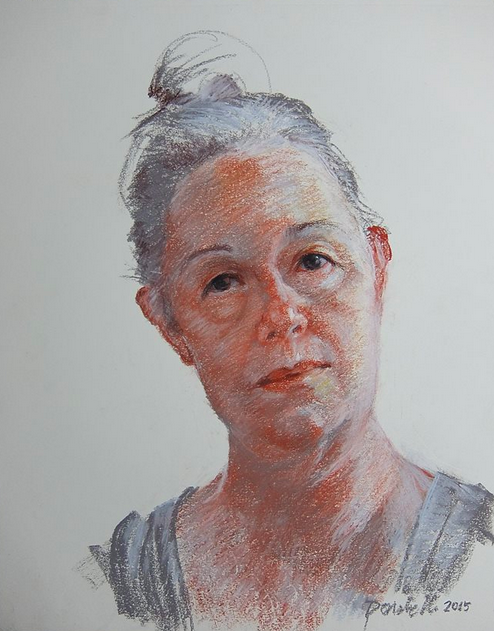 """September's Super Pastels: Kathryn Donatelli, """"Self-Portrait-Grey,"""" limited palette of conte and Rembrandt pastels on paper, 14 x 11 in"""
