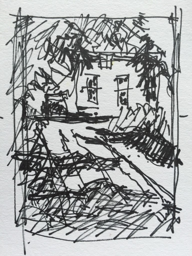 En plein air: First my thumbnail sketch which I have to admit, in my hurry to get cracking, turned out to be more of a notan than my usual three-value sketch