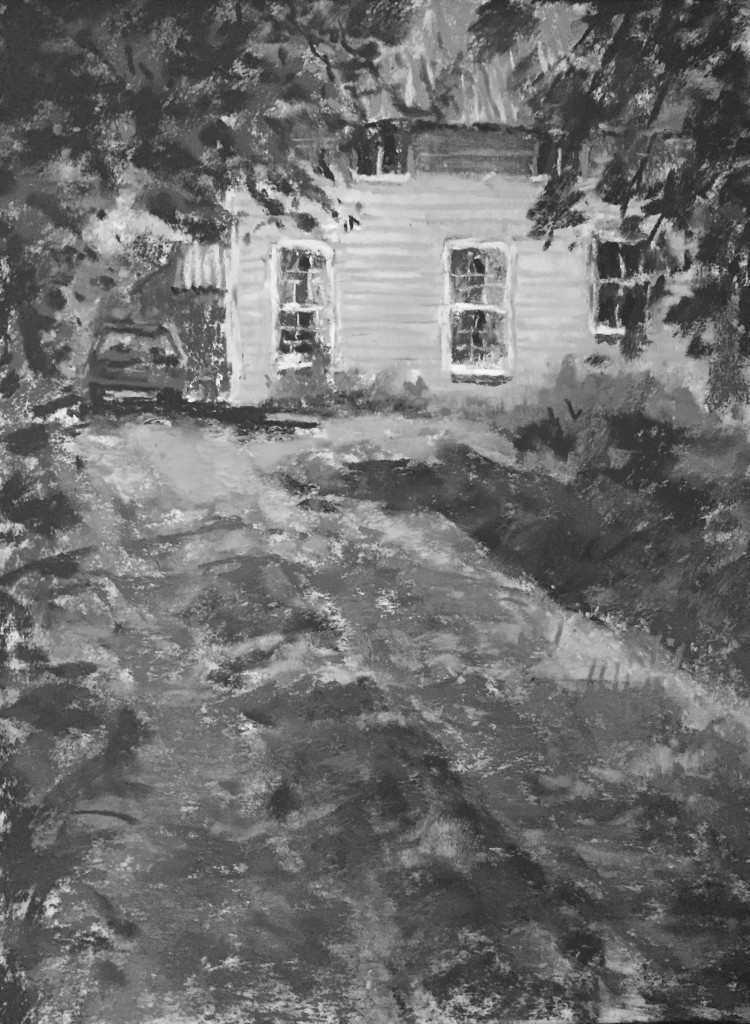 En Plein Air: A quick look at the painting in black and white.