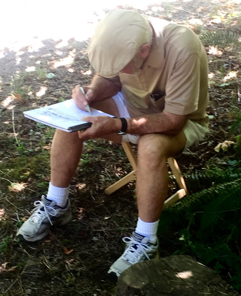 En Plein Air: And my Dad hard at work in pen and ink