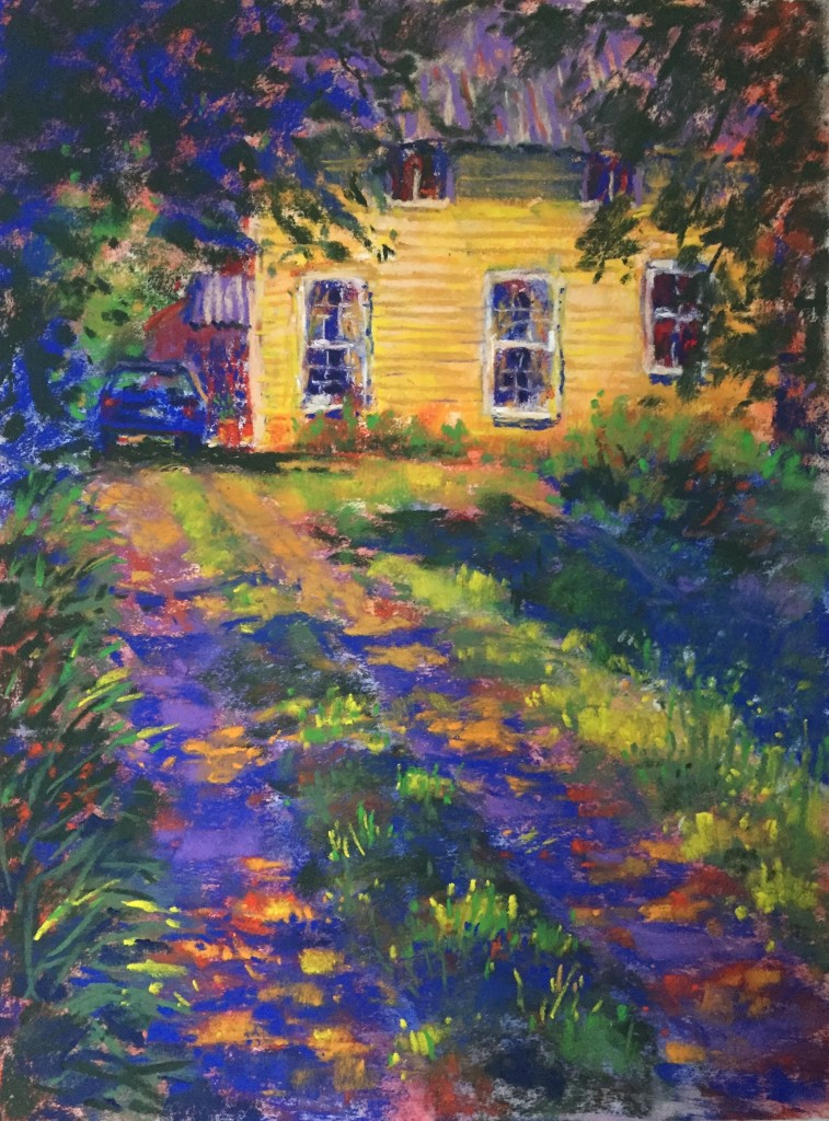 En Plein Air: Stepping back, I found the white of the flowers to be way too bright so I simmered those down a bit. I added more lights in the driveway grasses. I also used the red pastel in more areas around the piece.