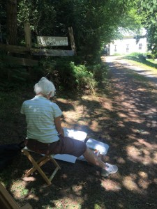 En Plein Air: My Mum painting the same scene but in watercolour!