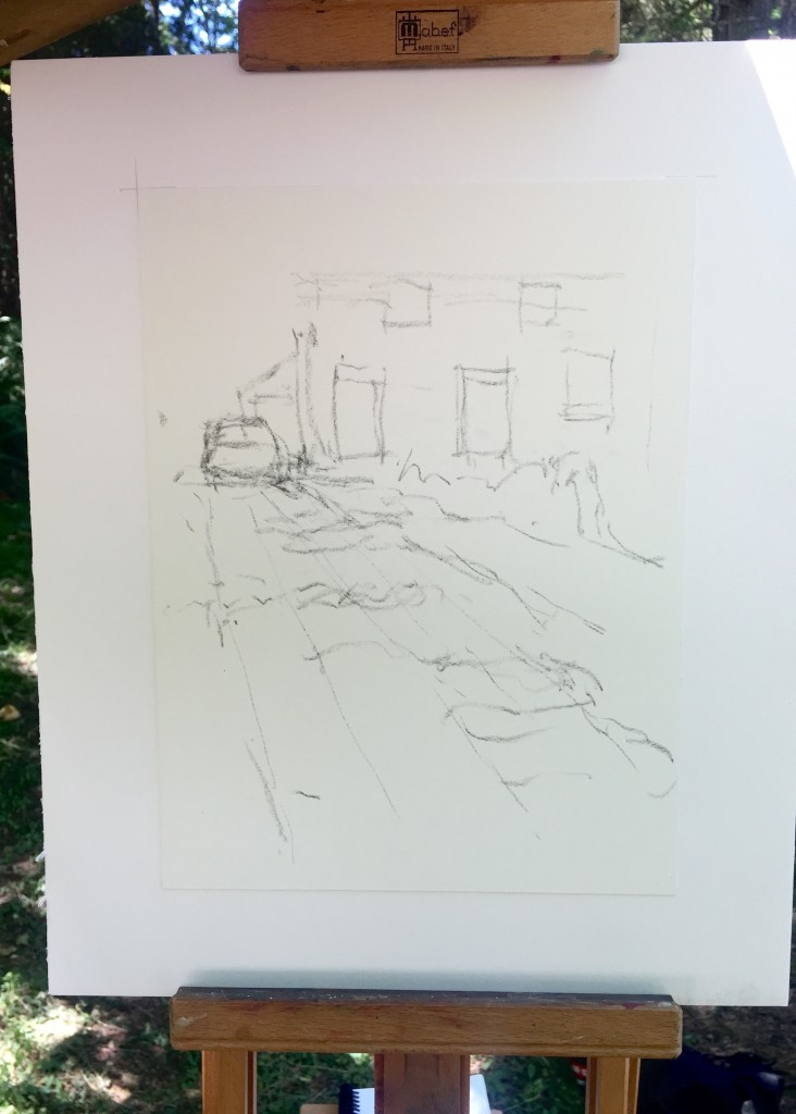 En Plein Air: Here's my very simple drawing in vine charcoal on white Wallis paper. Really just the barest of indications of what's there.