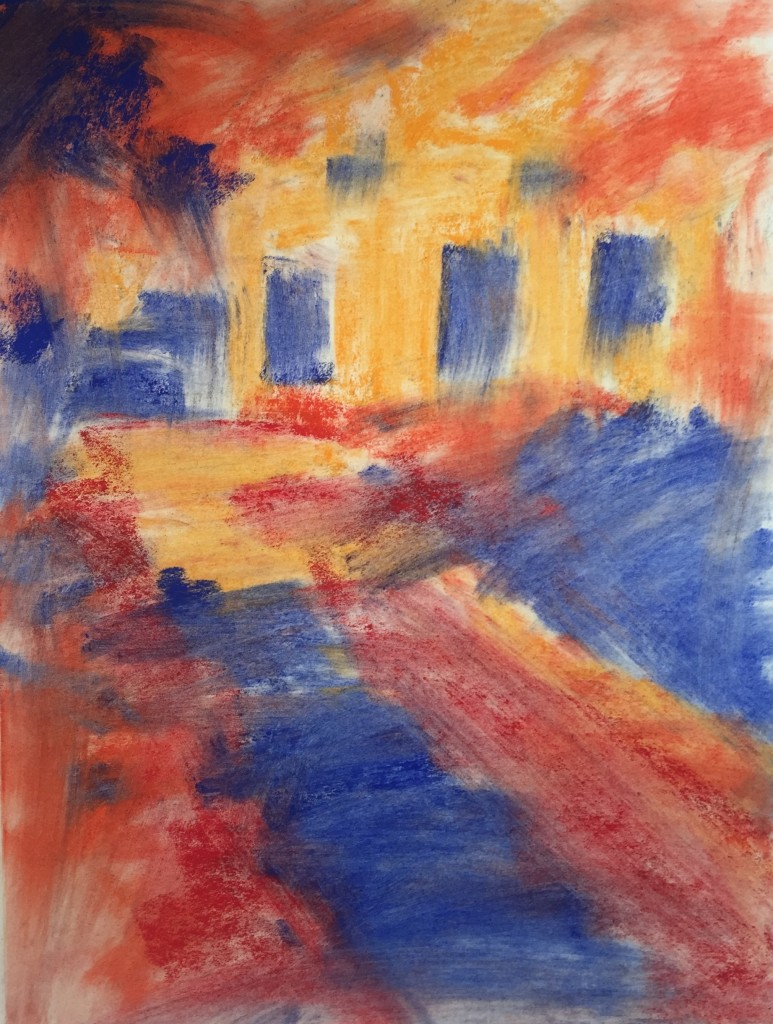 En Plein Air: Here I've applied pastels in the three main values (light, middle, and dark) and then brushed it all with paper towel to create an underpainting.