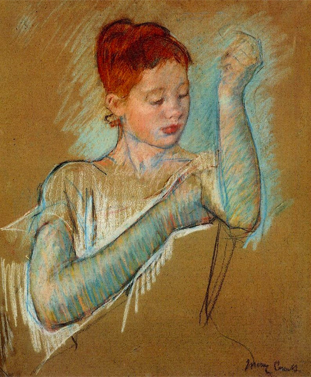 "Mary Cassatt, ""The Long Gloves,"" 1889, pastel on paper, 25 1/2x 21 in, Private Collection"