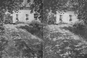 En Plein Air: Here you can see the two b&w images together. See the differences?