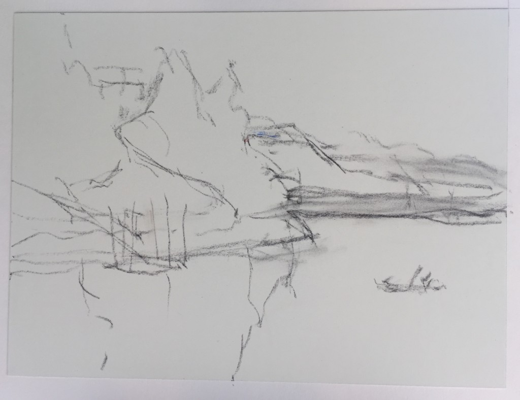 Pastel Finished?: Vine charcoal sketch on Wallis paper in preparation for the pastel