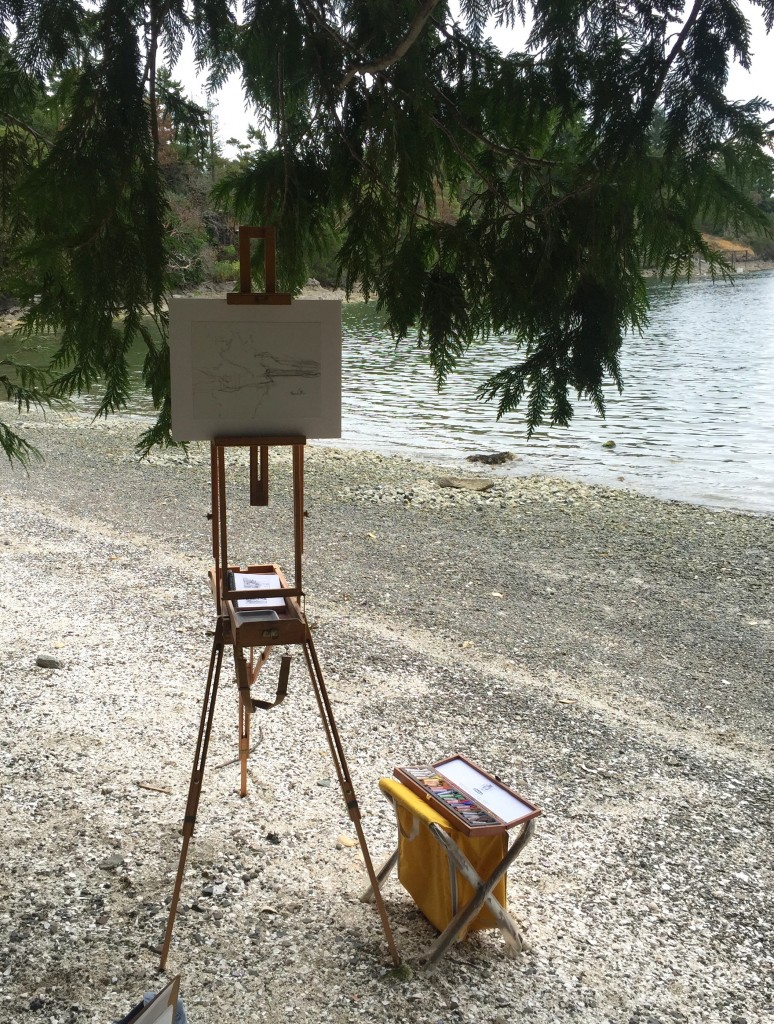 Pastel Finished?: And here's my set-up on the beach. There was occasional sun so I found an overhanging tree from under which to paint. It was tricky seeing the scene through the branches!