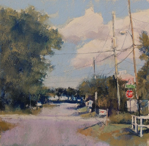 Lyn Asselta, End of the Street, 2012, pastel on Wallis paper, 8 x 8 in This may have been the beginning of my obsession with telephone lines. This little scene is next to a gas station and could be anywhere, which is probably why I like it. Funny, but at the time I painted it, I had no idea that in a few years I would build a house a couple streets from here. The scene hasn't changed much over the past few years, but I love the morning light here and the way the telephone lines lead you across the street.
