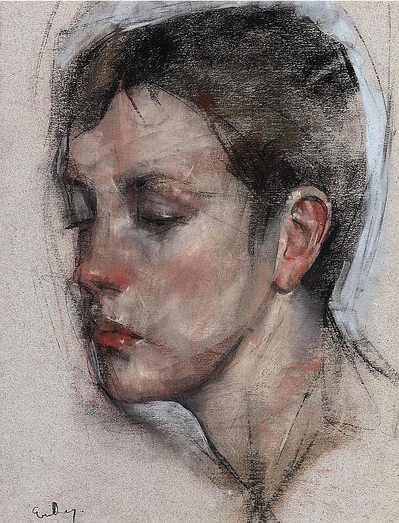 "January's Phenomenal Pastels: George Dawnay, ""Portrait Study of a Girl,"" pastel on buff paper, 16 x 12 3/8 in"