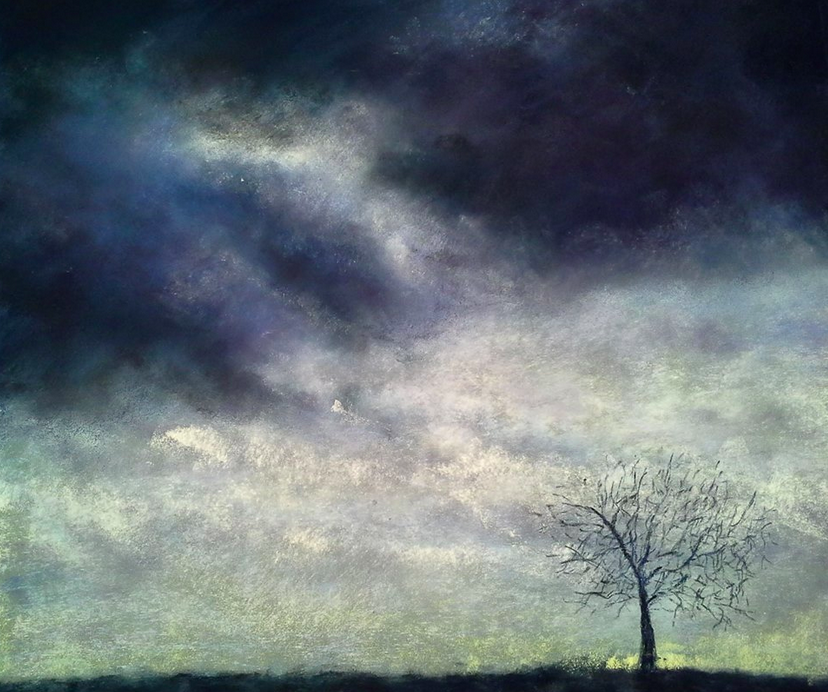 "January's Phenomenal Pastels: Pascale Peterlongo, ""L'Arbre de Marie Lys,"" pastel on Pastelmat, 16 1/2 x 19 3/4 in (42 x 50 cm)"