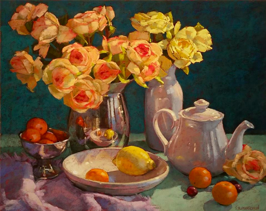 "January's Phenomenal Pastels: Sarah Blumenschein, ""Citrus Reflections,"" pastel on UArt, 16 x 20 in"