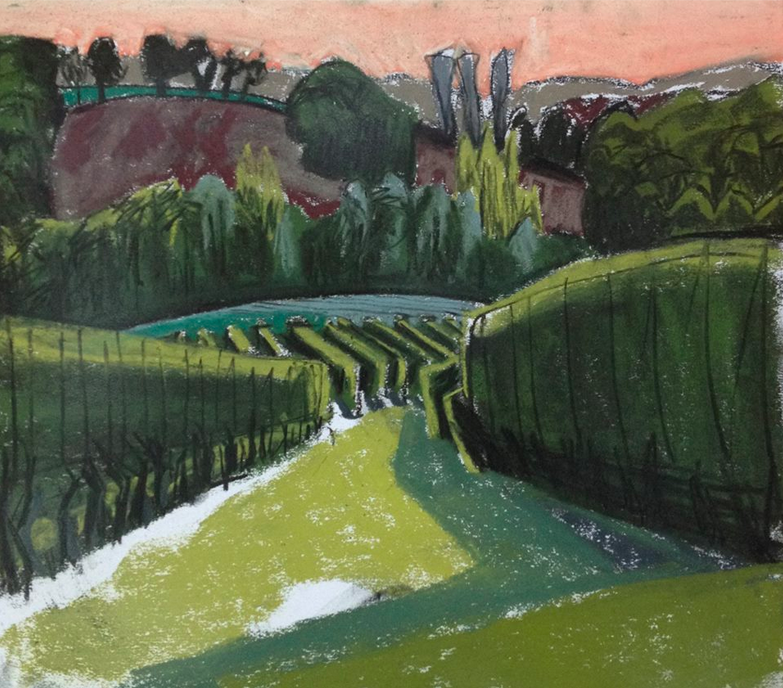 "January's Phenomenal Pastels: Tor Falcon, ""Evening Vineyard, Gascony,"" 2014, pastel on paper, 11 3/4 x 11 3/4 in (30 x 30 cm)"