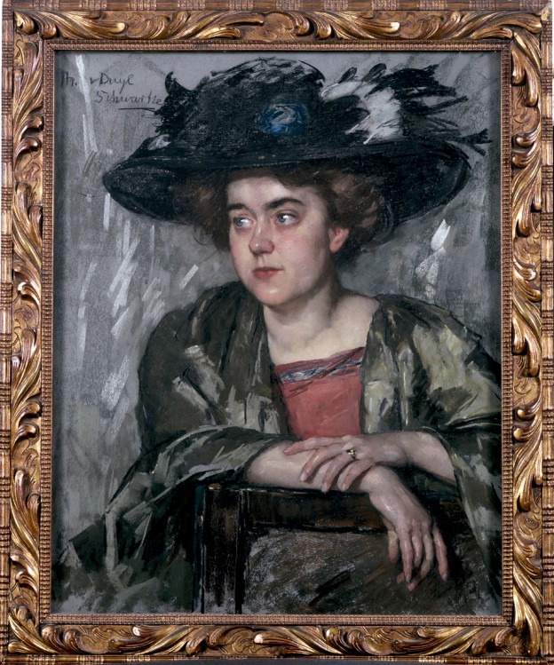 "Thérèse Schwartze , ""Woman Wearing A Hat (Portrait of Theresia Ansingh),"" n.d. (after 1906), pastel on paper, 71 x 57 cm (27 15/16 x 22 7/16 in), Private Collection"