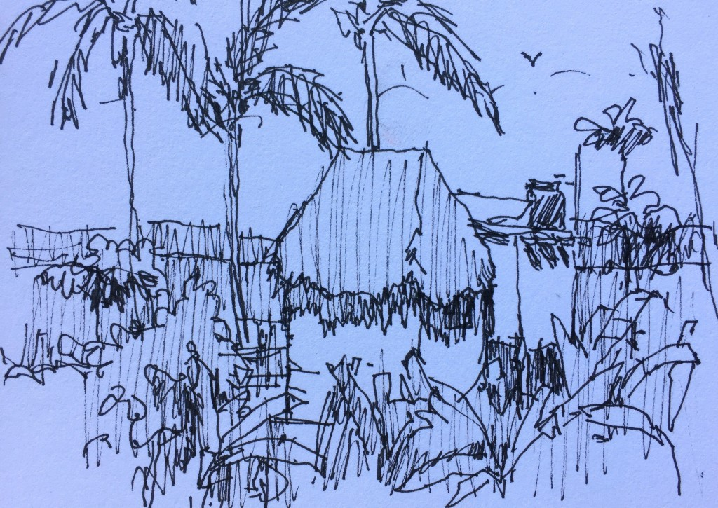 Simplify, Simplify, Simplify: Pen and ink thumbnail - you can see how I simplify the scene by combining value areas (I define three main values - dark, middle, and light) and by focusing on two buildings only.