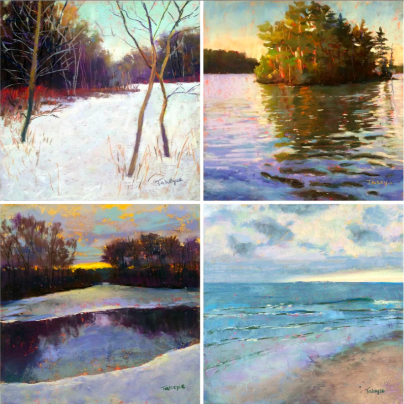 """30 Paintings in 30 Days: Takeyce Walter, all pastel, all 6 x 6 in. Days 14-17. From top left clockwise: """"Three Sisters,"""" """"Evening on Lake George,"""" """"Calm After The Rain,"""" """" Retreat"""""""