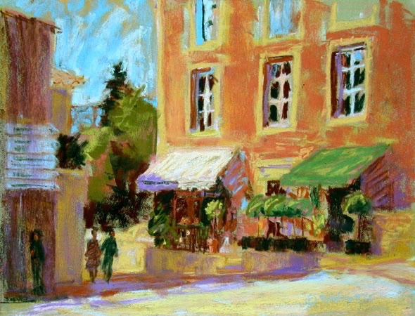"Pastel Workshops: Gail Sibley, ""Gordes,"" pastel on Pastelcard, 9 x 12 in"