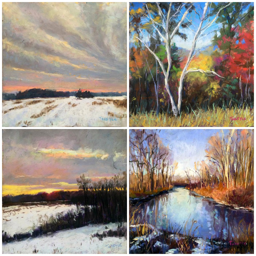 """30 Paintings in 30 Days: Takeyce Walter, all pastel, all 6 x 6 in. Days 2-5. From upper left: """"Winter Clouds,"""" """"Twin Birch,"""" """"Winter Sunset,"""" """"Winter Creek"""""""