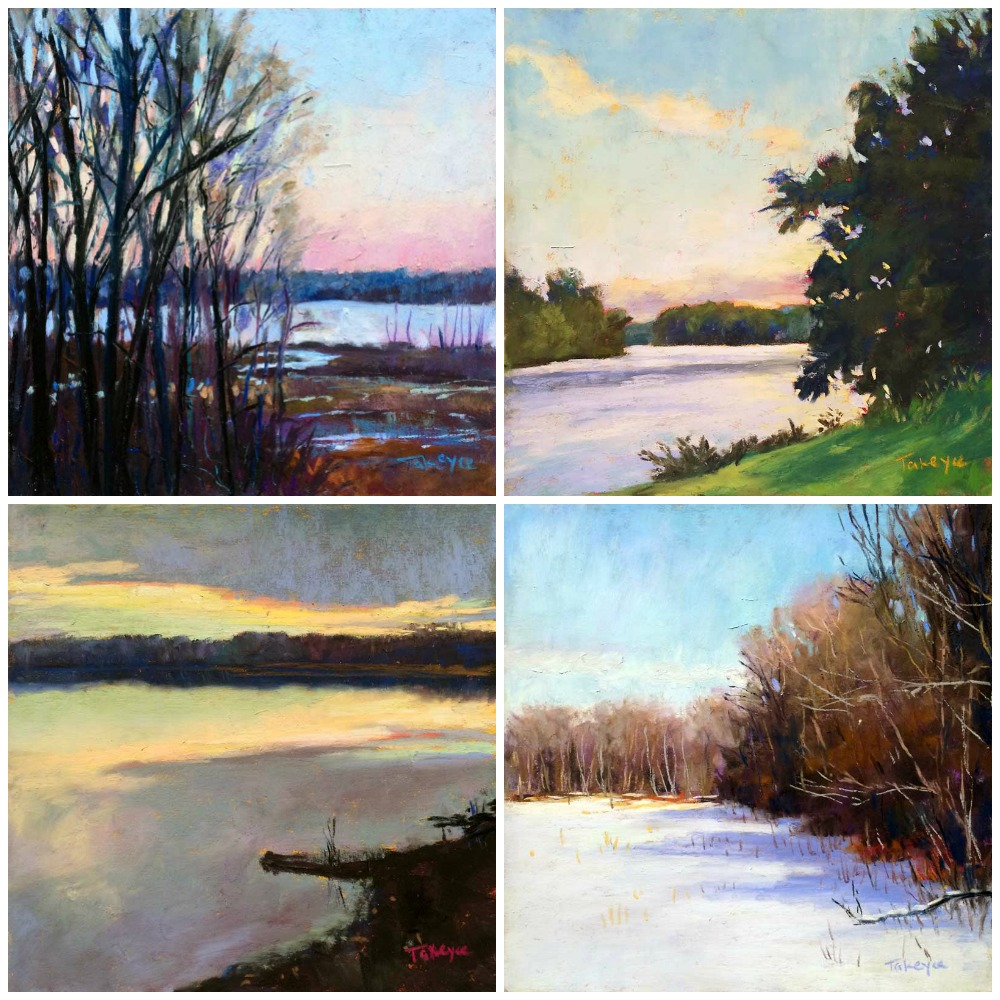 """30 Paintings in 30 Days: Takeyce Walter, all pastel, all 6 x 6 in.  Days 6-9. """"Across The Marsh,"""" """"Hudson Summer Memories,"""" Winter Sun,"""" """"Lake Light"""""""