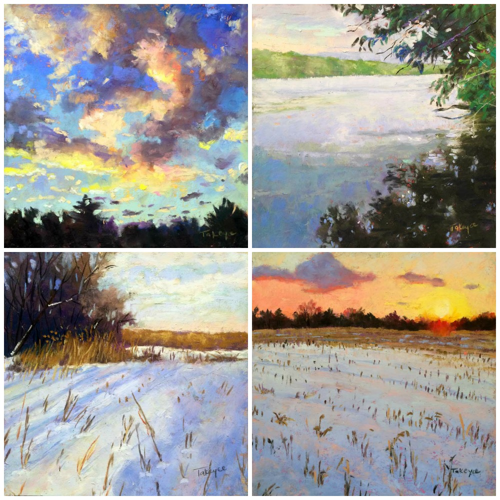 """30 Paintings in 30 Days: Takeyce Walter, all pastel, all 6 x 6 in. Days 18-21.  From top left clockwise: """"Sunset Clouds,"""" """"Hudson Shadows,"""" Winter Sunset Over The Cornfield,"""" Winter Shadows"""""""