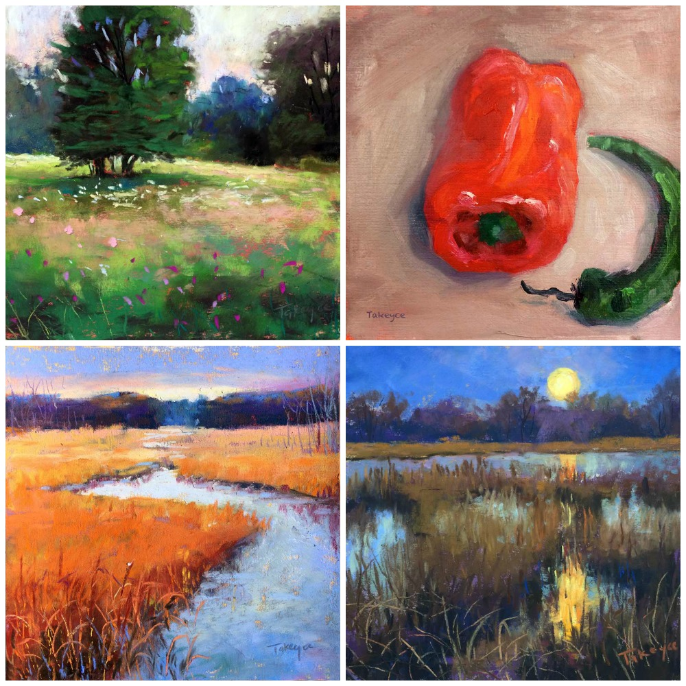 """30 Paintings in 30 Days: Takeyce Walter, three pastels, one oil, all 6 x 6 in. Days 22-25.  From top left clockwise: """"Summer Field And Trees,"""" """"Two Peppers,"""" The Marsh And The Moon,"""" """"Fall Marsh"""""""