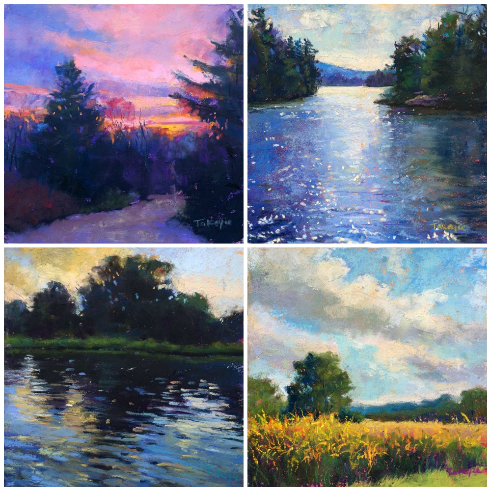 """30 Paintings in 30 Days: Takeyce Walter, all pastel, all 6 x 6 in. Days 26-29.  From top left clockwise: """"Winter Morning,"""" """"Light On The Bay,"""" Goldenrod,"""" Cove Sunset"""""""