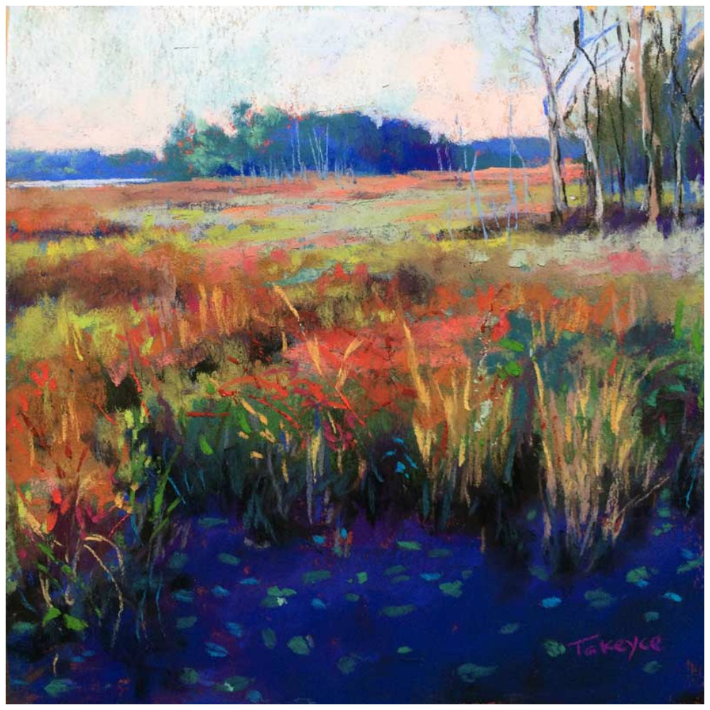 """30 Paintings in 30 Days: Takeyce Walter, """"Autumn Marsh Shadows,"""" pastel on UArt paper, 6 x 6 in"""