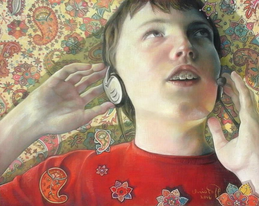 "Pastel Marvels: Emily Christoff Flowers, ""Listening To Maynard Ferguson,"" pastel on Pastelmat, 16 x 20 in"