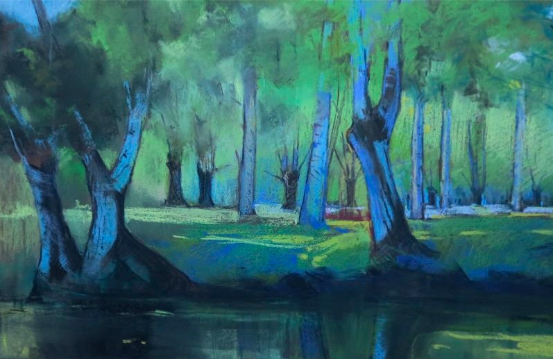 "Pastel Marvels: Mario Piana, ""Forest Blue,"" pastel, 11 x 17 in"