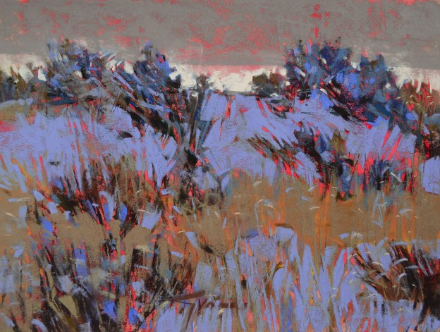 "Jen Evenhus, ""Wheatgrass Waltz,"" pastel on UArt paper, 9 x 12 in"