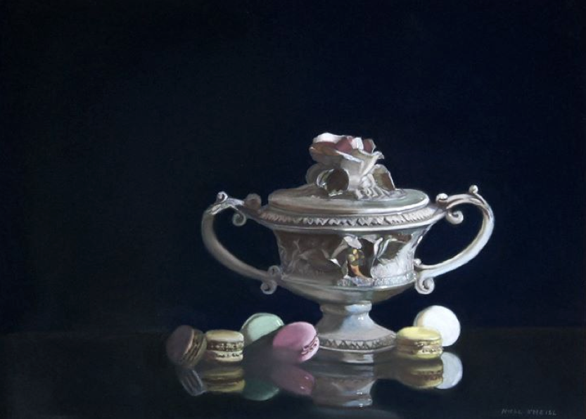 "April's Awesome Pastels: Niall O Neill, ""Macaroon Jar,"" pastel on Clairefontaine Pastelmat, 15 3/4 x 21 5/8 in (40 x 55 cm)"