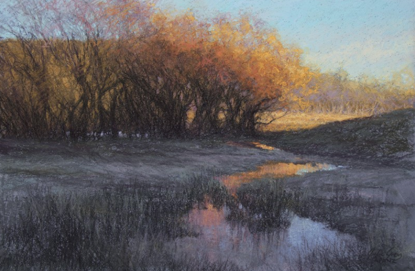 "April's Astounding Pastels: Julie Grieg, ""Perfect, Still.,"" pastel on Crescent 310 illustration board underpainted with pastel and water, 12 5/8 x 18 1/2 in (32 x 47 cm)"