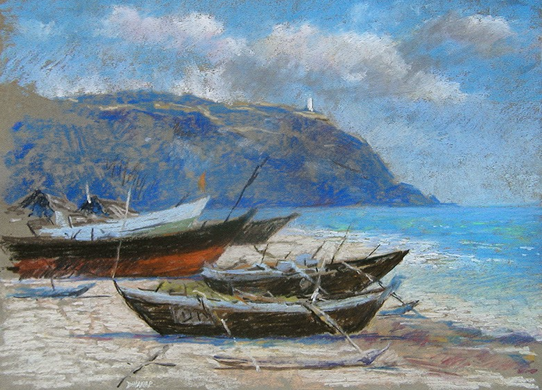 "April's Astounding Pastels: Shireesh Dharap, ""Kunkeshwar, Konkan, Boats High and Dry,"" pastel, 11 x 15 in"