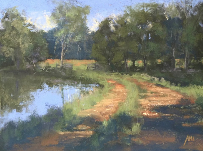 "April's Astounding Pastels: Ani Espriella, ""Headed to the Meadow,"" Terry Ludwig pastels on Wallis paper, 9 x 12 in"