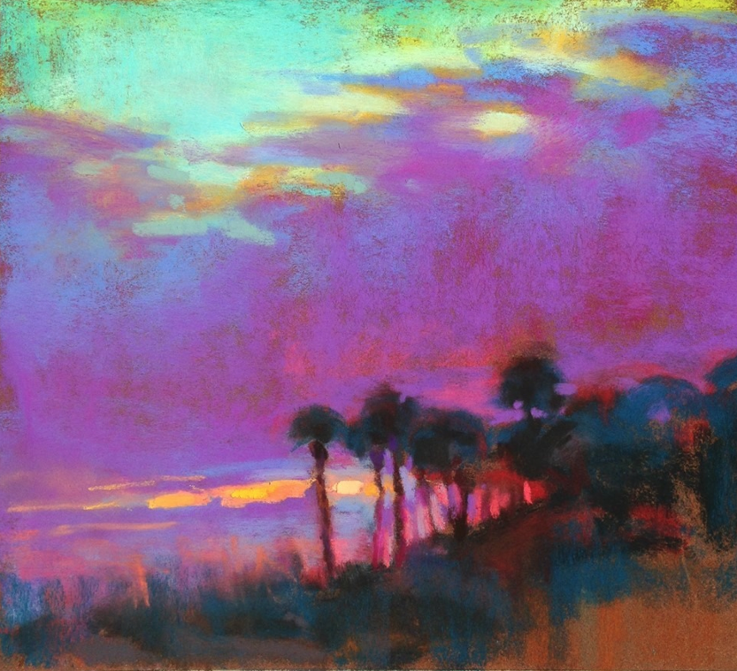 "April's Astounding Pastels: Susan Mayfield, ""Palms at Edisto,"" pastel on Sennelier La Carte, 10 x 12 in"
