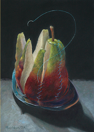 "April's Astounding Pastels: Nancy Marshburn, ""Re-Pear,"" pastel, 14 x 10 in"
