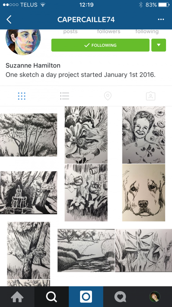 Suzanne Hamilton started a sketch a day on 1st January 2016 and is posting them all here on Instagram. A great way to keep accountable to a commitment!