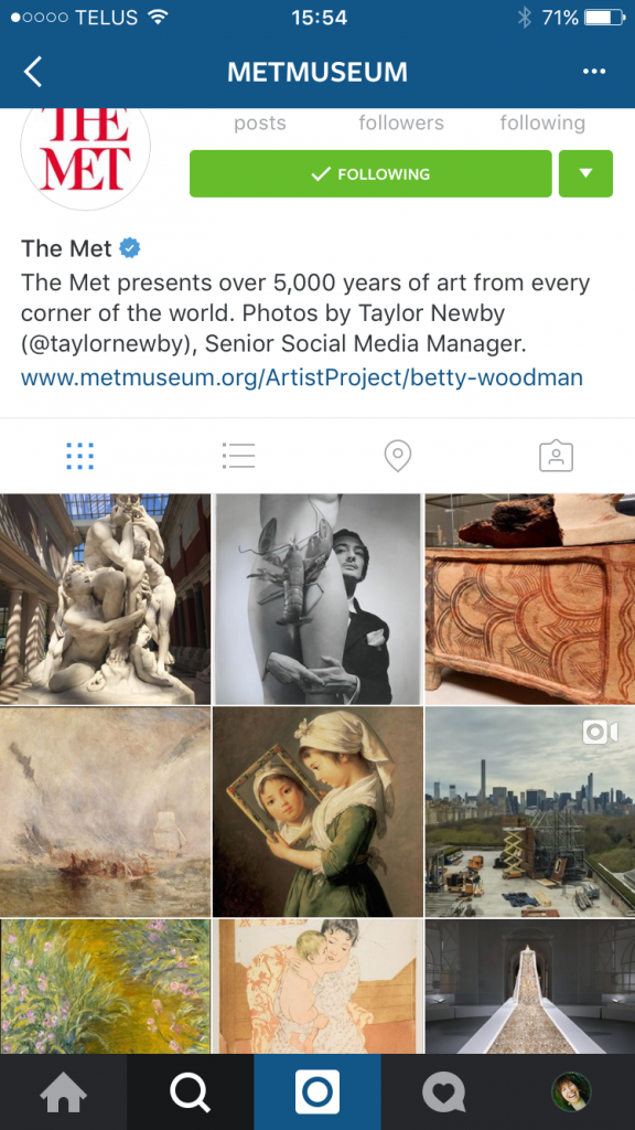 The Metropolitan Museum of Art's Instagram account - lots to inspire!