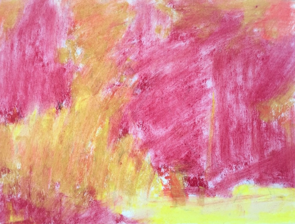 Garden Corner: 5. The first layer wiped with paper towel to create an underpainting