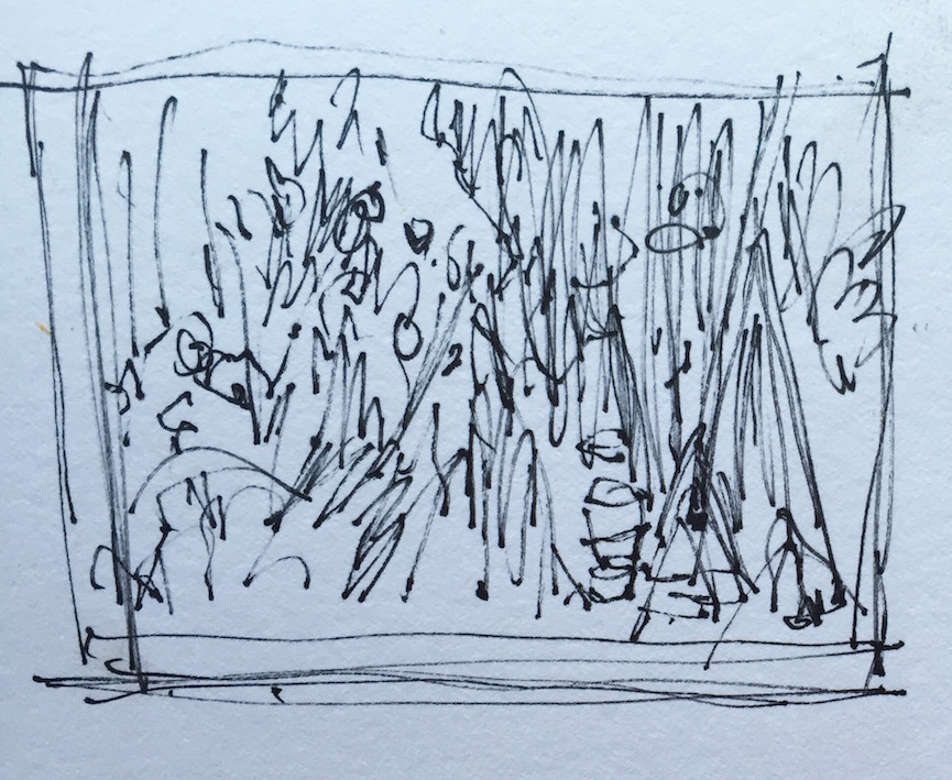 Garden Coner: 1. My first thumbnail - seeing if I like the subject enough to paint it.