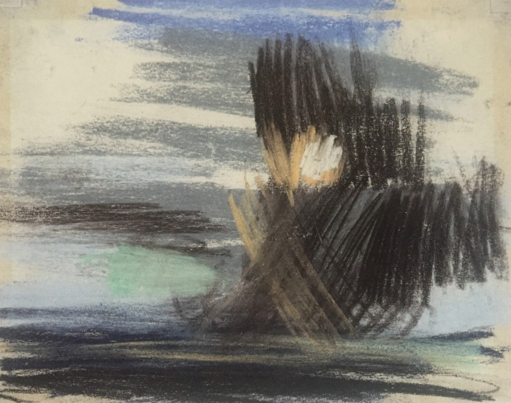 """Joan Eardley and her pastel landscapes: Joan Eardley, """"An Ominous Cloud,"""" c.1962-63, pastel on paper, 7 1/2 x 9 5/8 in, Private Collection"""