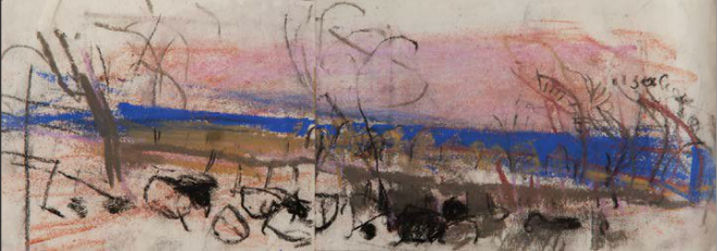 "Joan Eardley pastel landscapes: Joan Eardley, ""Autumn at Catterline,"" pastel on joined paper, 4 3/8 x 12 5/8 in, The Scottish Gallery, Edinburgh"